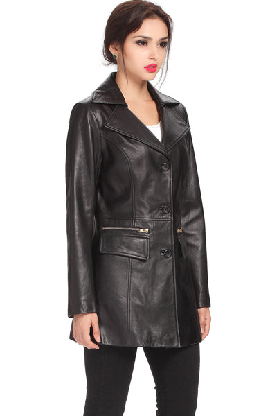 "BGSD Women's ""Caroline"" New Zealand Lambskin Leather Walking Coat - Plus"