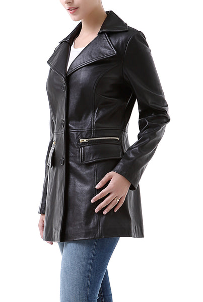 "BGSD Women's ""Caroline"" New Zealand Lambskin Leather Walking Coat"