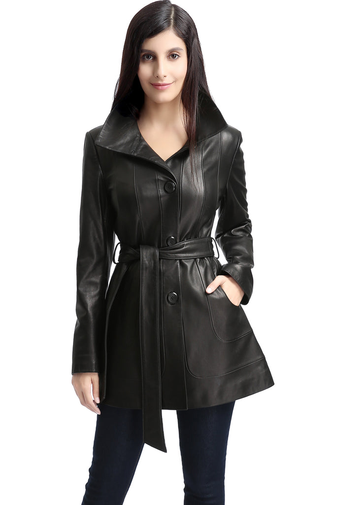 "BGSD Women's ""Madison"" New Zealand Lambskin Leather Coat - Plus Short"