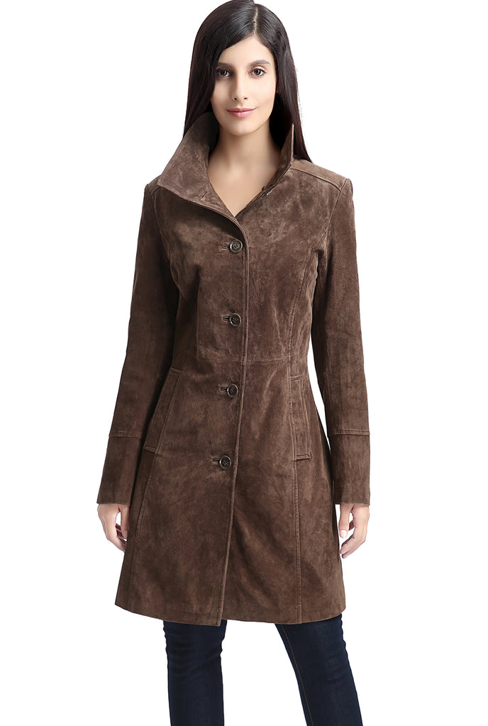 "BGSD Women's ""Aubrey"" Suede Leather Walking Coat - Short"