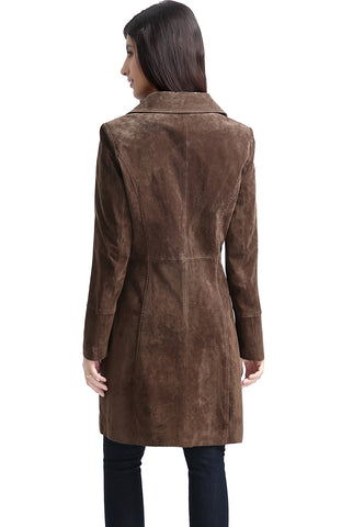 "BGSD Women's ""Aubrey"" Suede Leather Walking Coat - Plus Short"