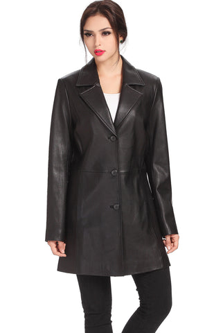 "BGSD Women's ""Danielle"" New Zealand Lambskin Leather Walking Coat - Plus"