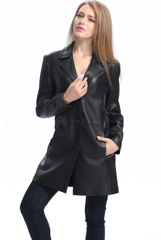 "BGSD Women's ""Danielle"" New Zealand Lambskin Leather Walking Coat - Plus Short"
