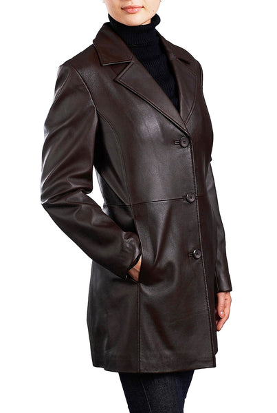 bgsd womens danielle new zealand lambskin leather walking coat 1