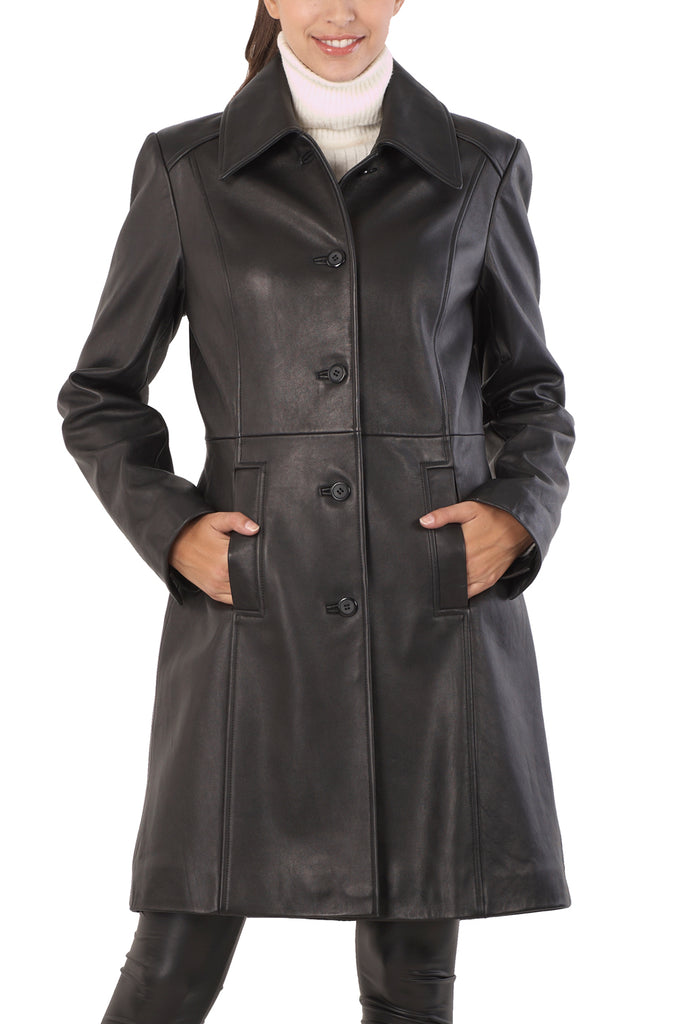"BGSD Women's ""Amber"" New Zealand Lambskin Leather Walking Coat - Plus Short"
