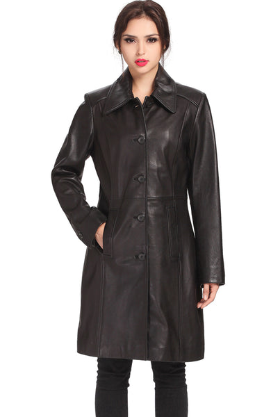 "BGSD Women's ""Amber"" New Zealand Lambskin Leather Walking Coat - Plus"
