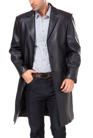 BGSD Men's Classic New Zealand Lambskin Leather Long Walking Coat - Big