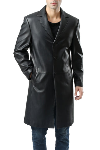 BGSD Men's Classic New Zealand Lambskin Leather Long Walking Coat - Tall