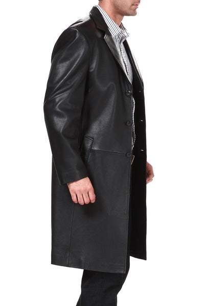 bgsd mens classic new zealand lambskin leather long walking coat big