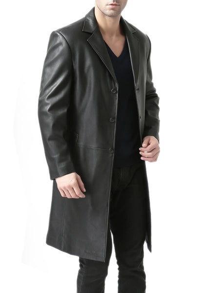 BGSD Men's Classic Leather Long Walking Coat
