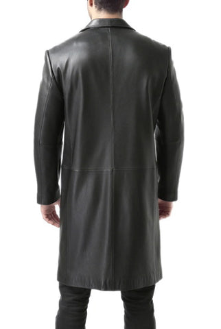 BGSD Men's Classic New Zealand Lambskin Leather Long Walking Coat - Big & Tall