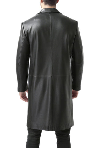 BGSD Men's Classic New Zealand Lambskin Leather Long Walking Coat