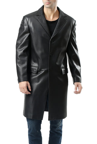 bgsd mens new zealand lambskin leather long walking coat big tall