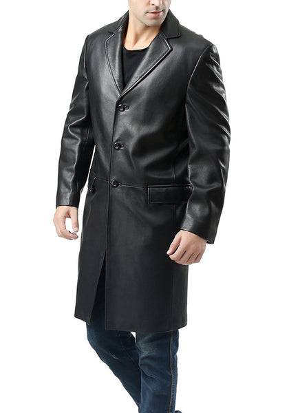 BGSD Men's New Zealand Lambskin Leather Long Walking Coat