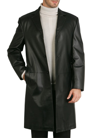 BGSD Men's Classic New Zealand Lambskin Leather Long Walking Coat - Short