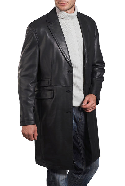 bgsd mens new zealand lambskin leather long coat big tall