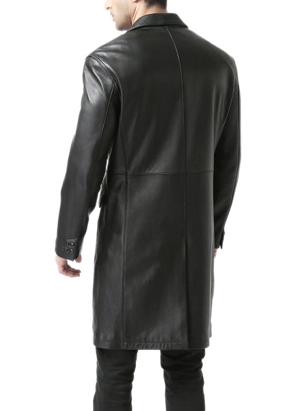BGSD Men's New Zealand Lambskin Leather Long Coat