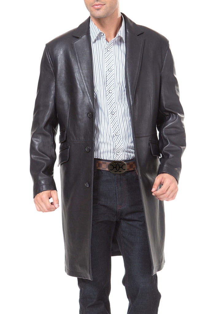 bgsd mens new zealand lambskin leather long coat big