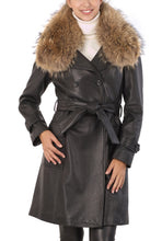 Load image into Gallery viewer, BGSD Women's Raccoon Fur Collar Lambskin Leather Trench Coat