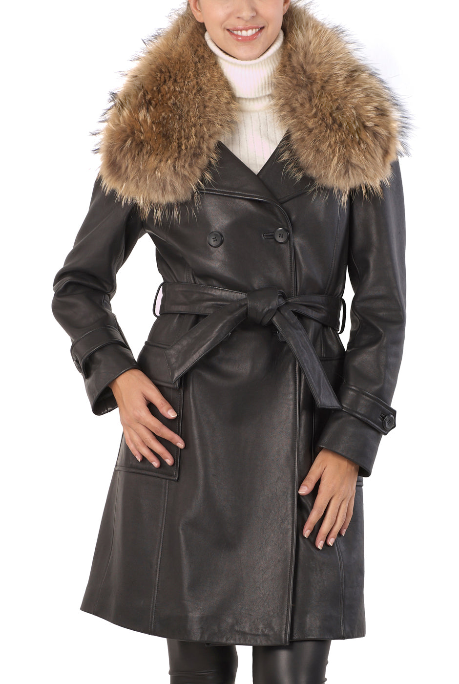 BGSD Women's Raccoon Fur Collar Lambskin Leather Trench Coat
