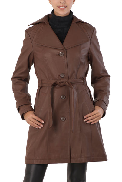 BGSD Women's Belted New Zealand Lambskin Leather Trench Coat