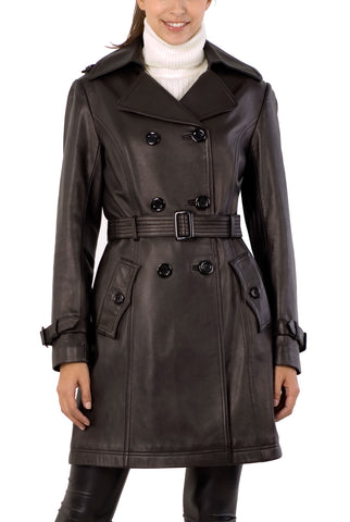BGSD Women's Belted Lambskin Leather Trench Coat