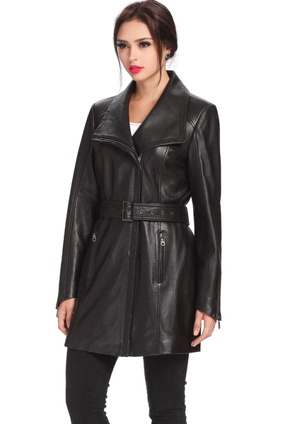 "BGSD Women's ""Fiona"" New Zealand Lambskin Leather Trench Coat"