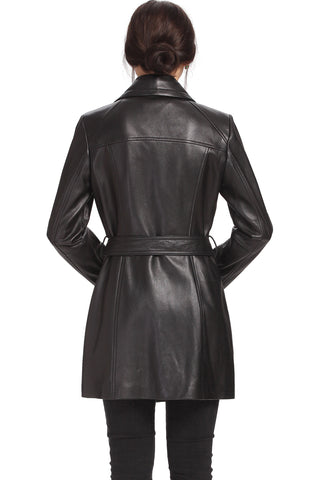"BGSD Women's ""Fiona"" New Zealand Lambskin Leather Trench Coat - Short"