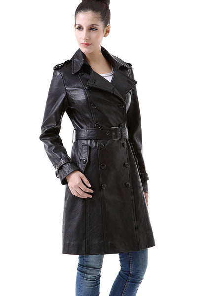 "BGSD Women's ""Nadine"" Lambskin Leather Trench Coat"