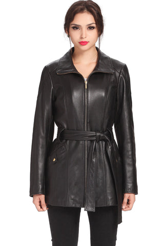"BGSD Women's ""Wendy"" Belted New Zealand Lambskin Leather Coat"