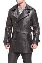 Load image into Gallery viewer, bgsd mens damian new zealand lambskin leather trench coat tall