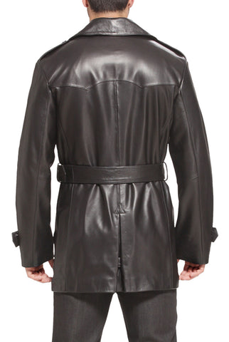 bgsd mens damian new zealand lambskin leather trench coat tall