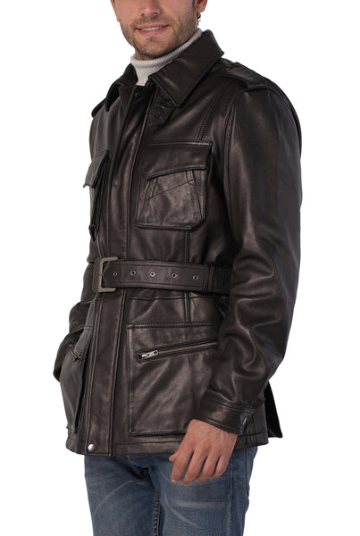 BGSD Men's Heritage New Zealand Lambskin Leather Trench Coat - Tall