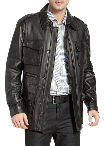 BGSD Men's Heritage New Zealand Lambskin Leather Trench Coat - Big