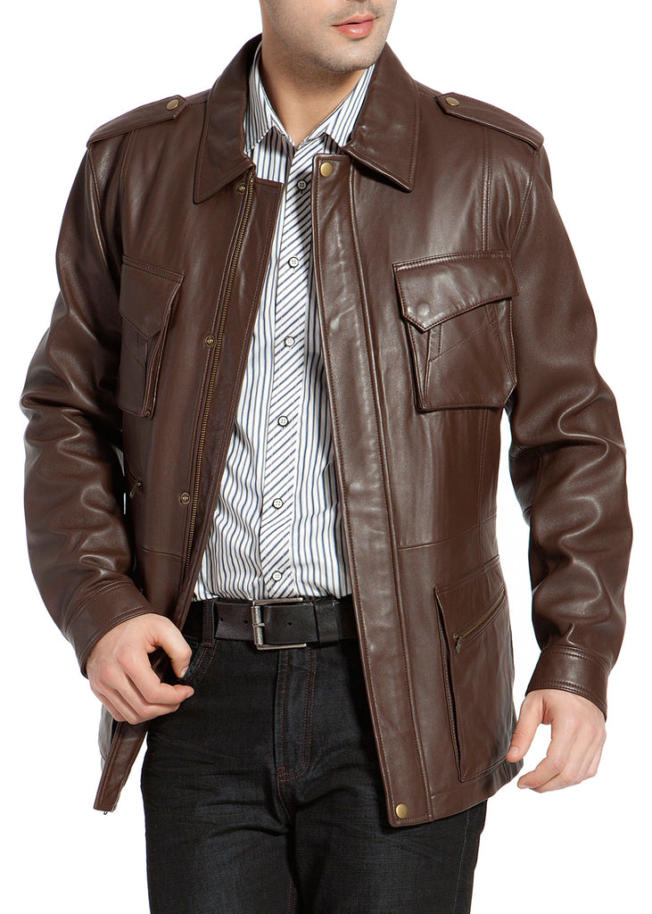BGSD Men's Heritage New Zealand Lambskin Leather Trench Coat