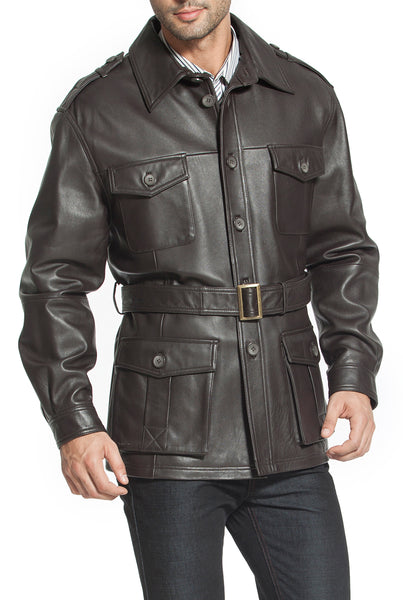 "BGSD Men's ""Charles"" Military Style Lambskin Leather Trench Coat"