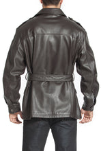 Load image into Gallery viewer, bgsd mens charles military style lambskin leather trench coat