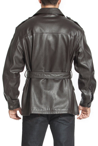 bgsd mens charles military style lambskin leather trench coat