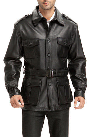 "BGSD Men's ""Charles"" Military Style Lambskin Leather Trench Coat - Tall"