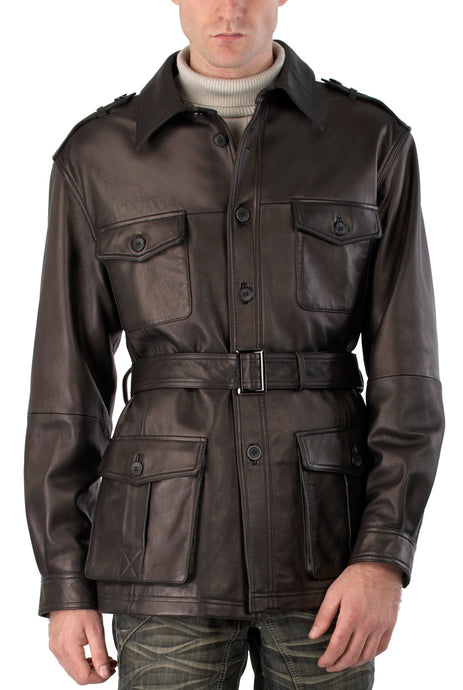 bgsd mens charles military style lambskin leather trench coat 1