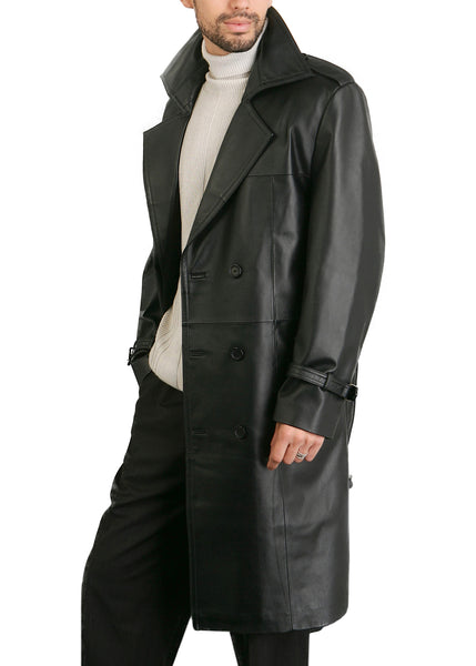 "BGSD Men's ""Xander"" Classic Leather Long Trench Coat - Tall"