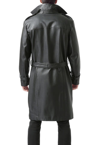 "BGSD Men's ""Xander"" Classic Leather Long Trench Coat - Big"