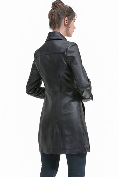 BGSD Women's New Zealand Lambskin Leather Coat - Plus Short