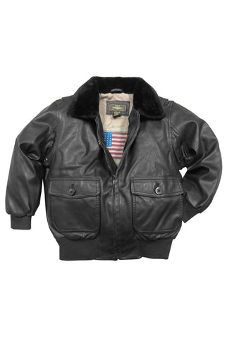 Landing Leathers Big Boys Navy G-1 Faux Leather Flight Bomber Jacket