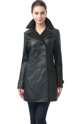 BGSD Women's 'Lorin' Lambskin Leather Long Walking Coat