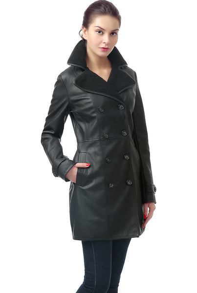 BGSD Women's 'Lorin' Faux Leather Long Walking Coat
