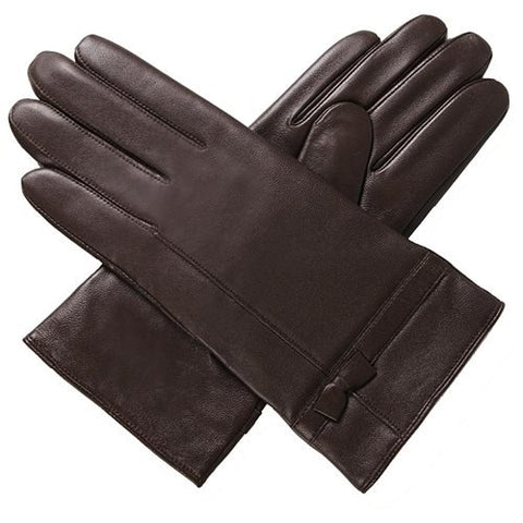 Luxury Lane Women's Cashmere Lined Leather Gloves with Bow