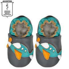 Kimi + Kai Boys Soft Sole Leather Baby Shoes - Airplane