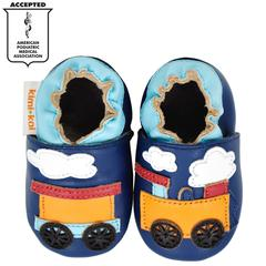 Kimi + Kai Boys Soft Sole Leather Baby Shoes - Train