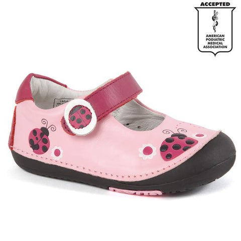 Momo Baby Girls First Walker Toddler Ladybugs Mary Jane Leather Shoes